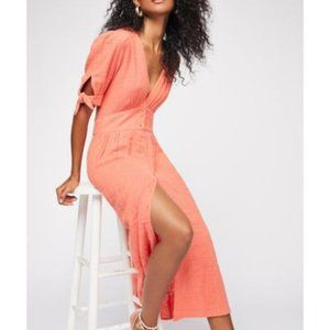 Free People Love Of My Life Midi Dress in Coral